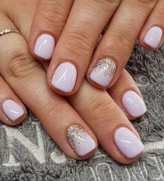 Glitter natural acrylic nail design