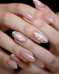 Nude Nail Sequins Design