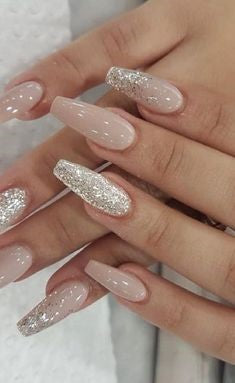 Sliver Glitter Coffin Nail Design