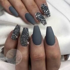 Chrome Powder Gray Nail Design