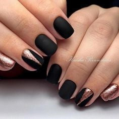 Matte Black with Gold Glitter Nail Design