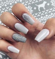 White with Chrome Sliver Nail Design