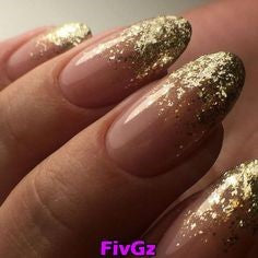 French Gold Sequins Nail Design