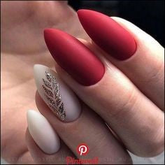 Red and Gold leaves Nail Design