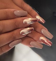 Rose Gold Metallic Nail Design