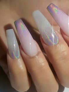 Holographic Coffin Nail Design