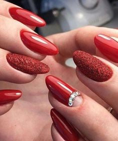 Red crystal nail design