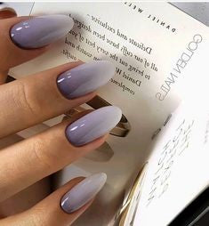 Purple Ombre Oval Nail Design