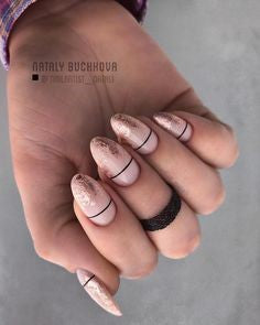 Chrome Split Oval Nail Design