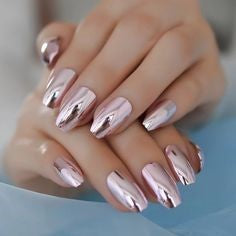 Metallic Oval Nail Design