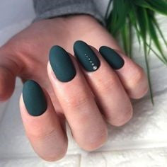 Matte Green Oval Nail Design