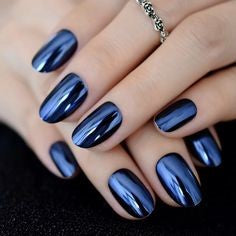 Chrome Powder Blue Oval Nail Design