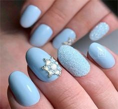 Blue Rhinestones Gorgeous Oval Nail Design