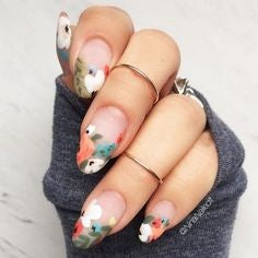 Spring Water Decals Oval Nail Design
