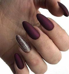Burgundy Oval Nail Design