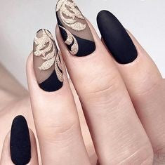 Matte Black and Gold Oval Nail Design