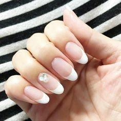 Simple French Oval Nail Design