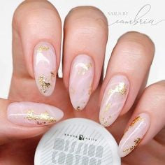 Nude Almond Gold Foil Nail Design