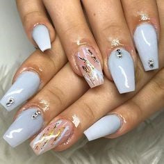 Rhinestone and Gold Foil Nail Design
