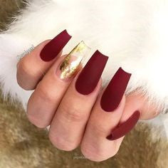 Matte Red and Gold Coffin Foil Nail Design