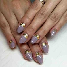 French Gold Foil Nail Design
