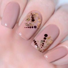 Round sequins and Gold Foil Nail Design
