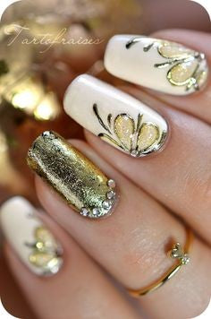 Gold Foil Butterfly Nail Design