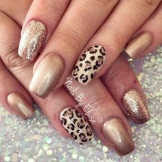 Gold and Leopard Nail Design