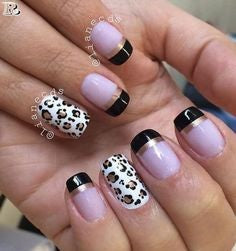 Black and Pink Leopard Nail Design