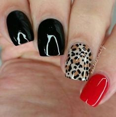 Red and Black Leopard Nail Design