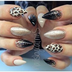 Short Stiletto Leopard Nail Design