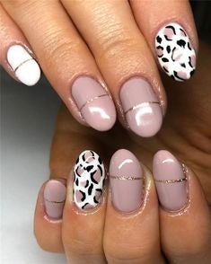 Oval Leopard Nail Design