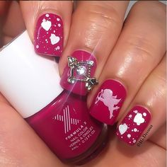 Cupid's Arrow Valentine Nail Design