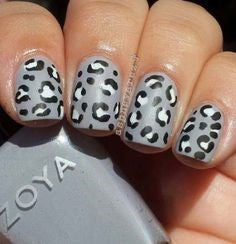Gray Leopard Nail Design