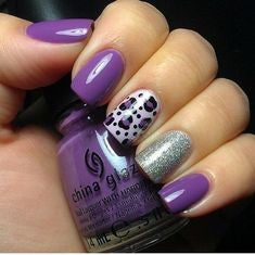 Purple Leopard Nail Design