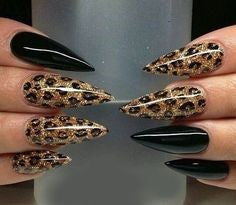 Long Stiletto Leopard Nail Design
