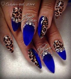 Blue Crystal Leopard Nail Design