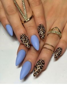 Blue Short Stiletto Leopard Nail Design
