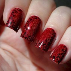 Red Glitter Leopard Nail Design