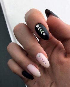 Black Oval Nail Design