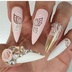 Pink 3D Sticker Floral nails