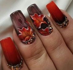 Red Leaves nail design