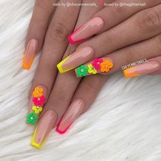 Colorful flowers nail design