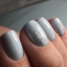 Grey nail design with some chrome powder