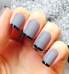 French Grey nail design