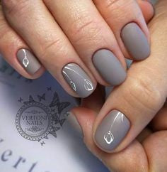 Grey nail design with buds