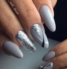 Sliver and Grey nail design