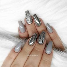 Metallic Mirror Grey nail design