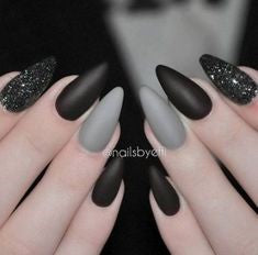 Black and Grey Stiletto nail design