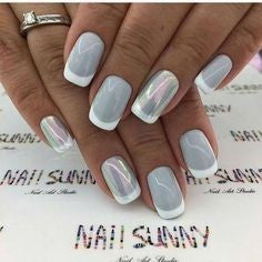 Holographic Grey nail design